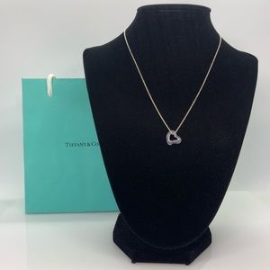 """Tiffany & Co. Open Heart Rose Crystal Necklace 16"""""""